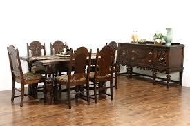 100 Oak Table 6 Chairs SOLD English Tudor 1920 Antique Dining Set
