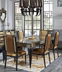 casa padrino luxury baroque dining set gold black 1 dining table and 6 dining chairs dining room furniture in baroque style