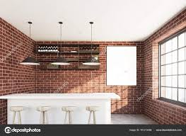 100 Brick Ceiling Cafe Interior With A White Stand Stock Photo