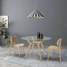glastisch rund 120cm massivholz esstisch küchentisch glasplatte hevea holz