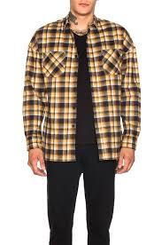 fear of god flannel shirt in brown plaid fwrd