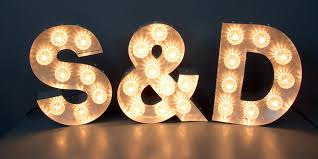 Marquee letters S&P or LOVE or FUN or a B Illuminated Signs