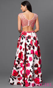 two piece open back floral print gown promgirl