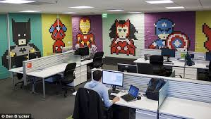 A Graphic Designer Sick Of His Drab Office Walls Decided To Spruce Up Work Space