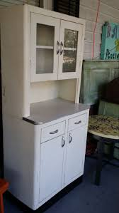 Vintage Metal Kitchen Cabinet With Glass Doors