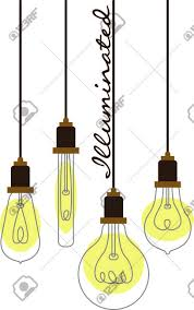 assorted hanging vintage light bulbs with curling wire filaments
