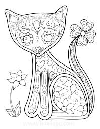 Day Of The Dead Coloring Book Cat By Thaneeya