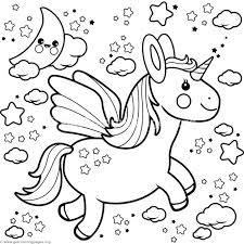 Unicorn Coloring Pages Flying Org Realistic