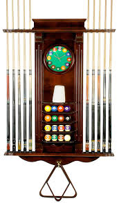 Amazon 10 Pool Cue Stick Billiard Wall Rack W Clock