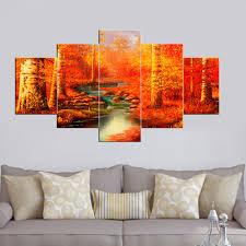 hd gedruckt 5 stück leinwand kunst herbst herbst rot saison malerei wandbild wohnzimmer schlafzimmer raumdekor poster drucken landschaft