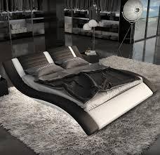 Lignato Modern Black White King Bed with LED Lighting