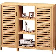viagdo kommode sideboard bambus beistellschrank küchenschrank schrank mit 2 lamellentür und offenen fächern für esszimmer wohnzimmer küche
