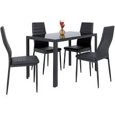 Best Choice Products 5-Piece Kitchen Dining Table Set W/ Glass Tabletop, 4  Faux Leather Metal Frame Chairs For Dining Room, Kitchen, Dinette, Black Madison County Ding Table Set With Extension Tamilo Ding Room Chair Ashley Fniture Homestore Pin On Ding Tables And Chairs Most Regard Set Cushions Chairs Comfortable Wat Indoor Covers Black Modern Mhattan Comfort York 5piece Solid Wood With 1 Table 4 540 Area Tile Wooden Patings Decorative Giantex 5 Piece Upholstered Mid Century Apartment Linen Fabric Cushioned Seats Large Amazing Brie Hooker Hill Country