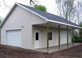 Pole Barn Garage with Porch Garage and Workshop