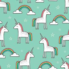 Cute Unicorn Rainbow In Mint Fabric