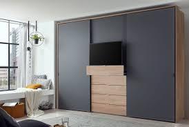 staud media multi tv kleiderschrank mit schubkästen mattglas höhe 240 cm