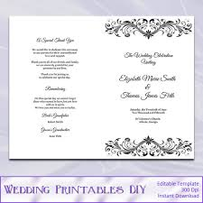 Half Fold Wedding Programs Program Booklet Template Black And White Diy