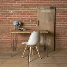 Inspiring Rustic Brick Wall Design Ideas Also Wood Door And Unique Computer Desks As Well White Eames DSW Chair Plus Beautiful Flower