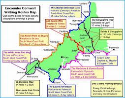 Cornwall Walking Holidays Map Including South West Coast Path And Saints Way