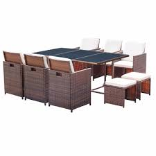 Homall 11 Piece Patio Furniture Dining Set Patio Wicker Rattan Table ... Outdoor Wicker Chairs Table Cosco Malmo 4piece Brown Resin Patio Cversation Set With Blue Cushions Panama Pecan Alinum And 4 Pc Cushion Lounge Ding 59 X 33 In Slat Top Suncrown Fniture Glass 3piece Allweather Thick Durable Washable Covers Porch 3pc Chair End Details About Easy Care Two Natural Sorrento 5 Cast Woven Swivel Bar 48 Round Jeco Inc W00501rg Beachcroft 7 Piece By Signature Design Ashley At Becker World Love Seat And Coffee Belham Living Montauk Rocking