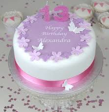birthday cake with MAUVE FLOWERS PINK RIBBON and PINK GLITTER CANDLES