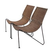 Vintage Frederick Weinberg Wicker Iron Lounge Chairs Mr