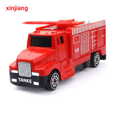 100 Toy Fire Truck 2 Types Engine Model Alloy Car Model Spray Water