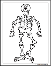 Happy Skeleton Coloring Printable For Kindergarten