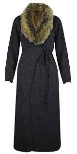 ladies women faux fur collar long maxi cardigan cape belted