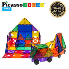 Picasso Tiles Magnetic Building Blocks by Picassotiles 82 Piece Designer Artistry Set Clear 3d Magnet