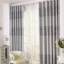 Silver Grey Print Geometric And Plaid Polyester Modern Bedroom Or Living Room Curtains