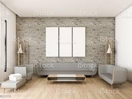 moderne wohnzimmer ziegelwand mit 3 bildern 3drendering stockfoto und mehr bilder architektur