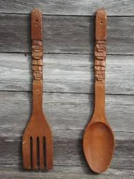 large wooden fork and spoon wall hanging retro kitchen wall big carved wooden forks spoons 60s 70s