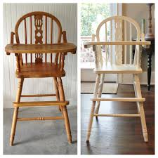 cabin fever before after wooden high chair