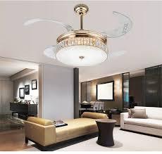 Crystal Folding Ceiling Fan Light Telescopic Modern Minimalist Living Room Lights Dining