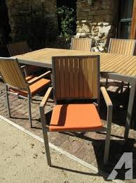 crate and barrel alfresco dining table with 6 chairs and 6