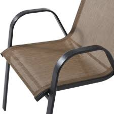 Stack Sling Patio Lounge Chair Tan by Mainstays Heritage Park Stacking Sling Chair Tan Walmart Com