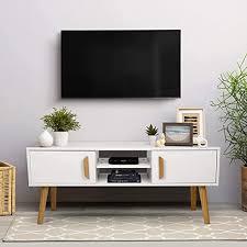 amzdeal fernsehtisch weiß holz tv schrank tv tisch tv möbel tv lowboard tv board modern entertainment einheit mit 2 türen 2 regalen für wohnzimmer