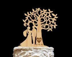 Mr And Mrs Cake Topper Wedding Wood Laurel Leaf Wreath Gold Silver Monogram
