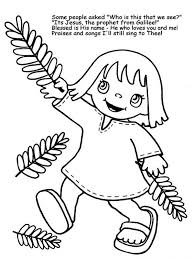 A Little Girl Wave Palm Tree Branches In Sunday Coloring Page