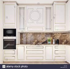 Modern White Kitchen Interior 3d Rendering Stockfoto Und Modern Interior Design Of Kitchen Front View Up