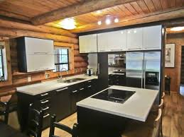 Rustic Log Cabin Kitchen Ideas by Kitchen Room Rustic Light Brown Wooden Kitchen Island And