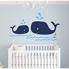 Whale Family Nautical Mom and Baby Wall Decal Nursery Wall Decals Nautical Nursery Decor