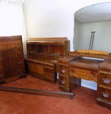 Waterfall Vanity Dresser Set by Vintage Waterfall Bedroom Set Project Furniture Ebth
