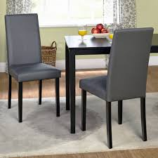 Grey Upholstered Dining Chairs With Nailheads by Faux Leather Parson Dining Chair Set Of 2 Walmart Com