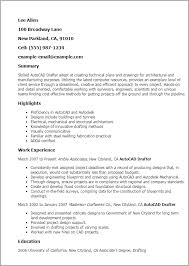 Cad Resume Autocad Drafter Template