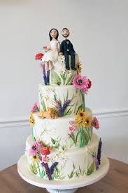 Foliage Painted Wedding Cake With Sugar Wildflowers And Figurines