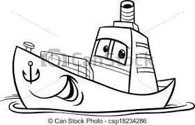 Container ship cartoon coloring page Black and white vector
