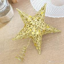 Pentagonal Stars Christmas Tree Star Topper Iron Top Vintage Bling Golden Xmas Ornaments New Year Home Decoration P20 Toppers Cheap