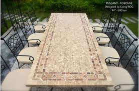 Outdoor Stone Dining Table Top Italian Patio Mosaic TUSCANY 78